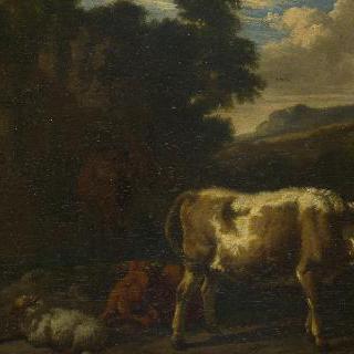 폐허 곁에 있는 송아지 두 마리, 양과 암갈색 말