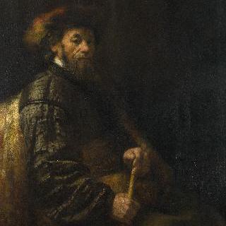 지팡이를 들고 앉아 있는 남자