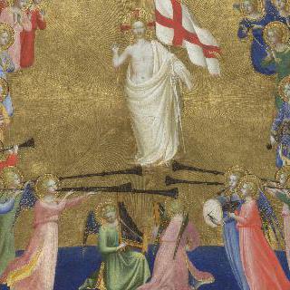 천국의 궁정에서 영광을 받는 그리스도