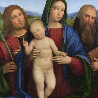 성모와 아기 예수 및 두 성인