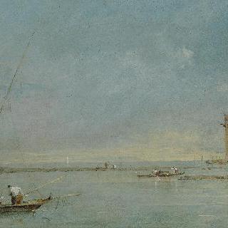 마르게라의 탑이 있는 베네치아 석호의 풍경