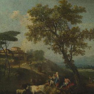 가축과 사람들이 있는 풍경