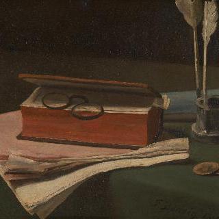 책, 종이와 잉크병이 있는 정물