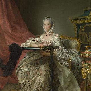 자수틀 앞에 앉아 있는 마담 드 퐁파두르