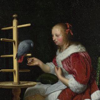 앵무새에게 먹이를 주는 붉은 재킷을 입은 여인