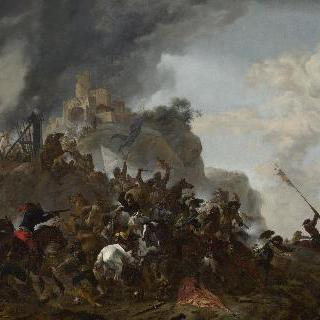 언덕 위 요새에서 출격하는 기병대