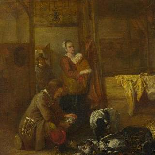 마구간에 죽은 새들과 함께 있는 남자와 여타 인물들