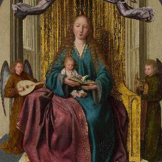 왕좌에 앉아 있는 성모와 아기 예수 및 네 천사
