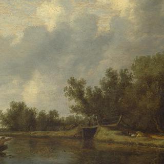어부들이 있는 강 풍경