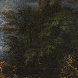 머큐리와 부정직한 나무꾼이 있는 풍경