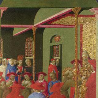 교황 호노리오 3세 앞의 성 프란체스코