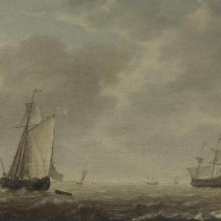 산들바람 속의 네덜란드 군함과 여러 배들