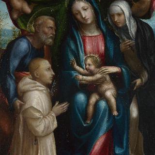 성모와 아기 예수, 성인들과 기부자