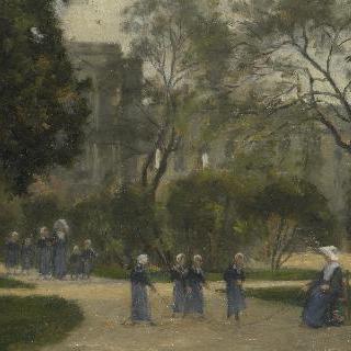파리의 튈르리 정원에 있는 수녀들과 여학생들