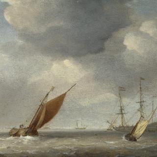 산들바람 속의 작은 네덜란드 배들