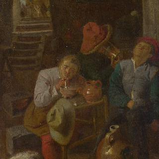 지하 저장실에 있는 네 명의 농부