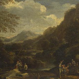 인물들이 있는 산악 풍경