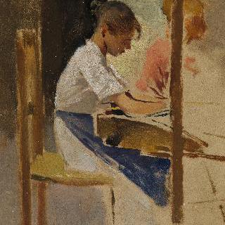 세티냐노의 밀짚 엮는 여인들'을 위한 초벌그림