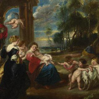 풍경 속의 성 가족과 성인들