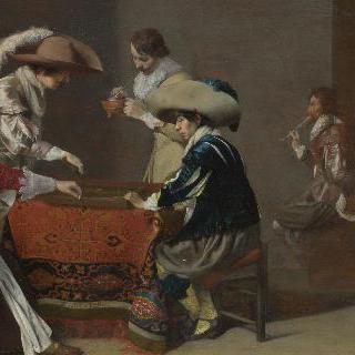 트릭트랙 놀이를 하는 두 남자와 점수를 기록하는 여자