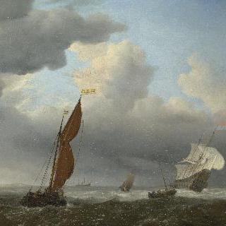 된바람 속의 네덜란드 선박과 다른 작은 배들