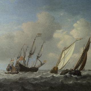 산들바람 속의 네덜란드 선박, 요트와 그보다 작은 배들