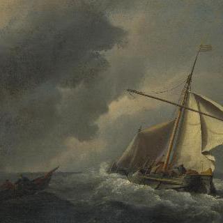 된바람 속의 네덜란드 배