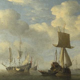 무풍에 멈춘 잉글랜드 배와 네덜란드 선박들