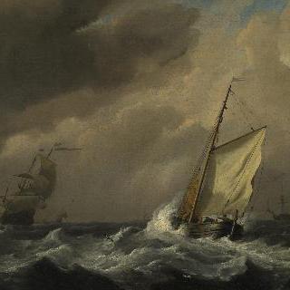 된바람 속에서 돛을 활짝 편, 작은 네덜란드 배