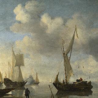 무풍 속에서 해안에 누워있는 네덜란드 배들, 예포를 쏘는 배 한 척