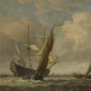 산들바람 속의 작은 배 두 척과 네덜란드 군함