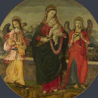 성모와 아기 예수 및 두 천사