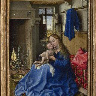 실내에 있는 성모와 아기 예수