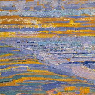 사구에서 바라본, 해변과 잔교가 있는 돔뷔르흐 풍경