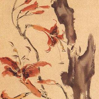 괴석과 나리꽃