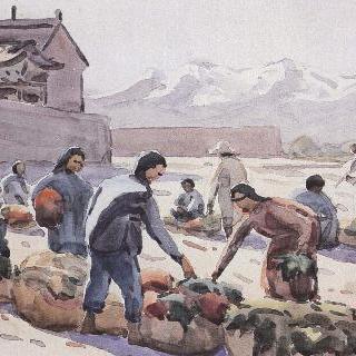 주취안성밖의 야채시장