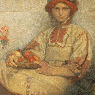 사과를 든 크로아티아 여자