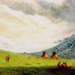 수(Sioux)족의 인디언 캠프