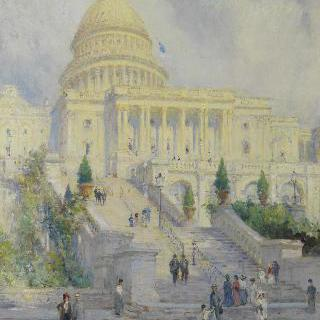미국 워싱턴D.C. 국회의사당 서문 계단