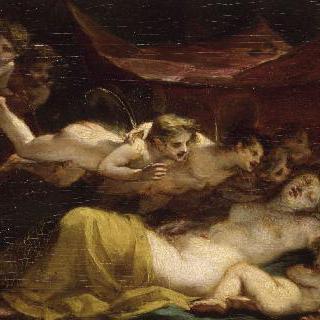 잠든 비너스와 에로스를 깨우는 제피로스