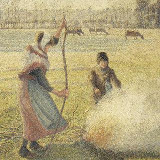 서리 내린 밭에 불을 지피는 젊은 농부 (밭 태우기)