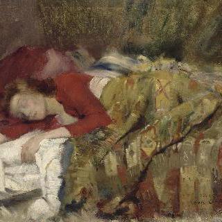잠을 자는 젊은 여인