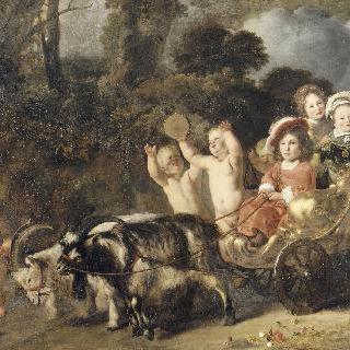 염소가 끄는 마차에 탄 귀족 아이들