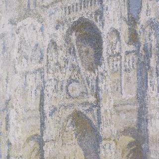 루앙 성당, 성당의 정문과 생 로맹 탑, 햇빛 가득한 파랑과 금색 조화