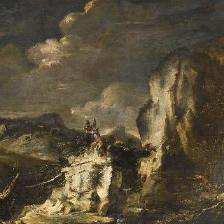 사냥꾼과 군인이 있는 바위산의 풍경