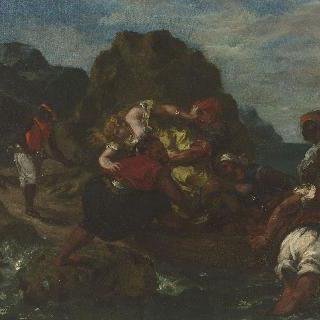 젊은 여인을 납치하는 아프리카 해적들(빅토르 위고, 동양의 여인들, VIII)