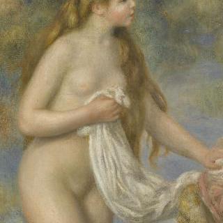 긴 머리의 목욕하는 여인