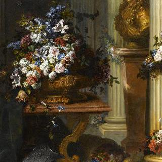 금색 꽃병과 루이14세의 흉상, 갑옷이 있는 정물