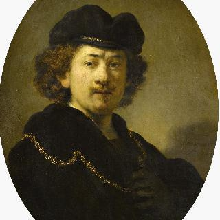 챙없는 모자를 쓰고 금목걸이를 한 화가의 초상
