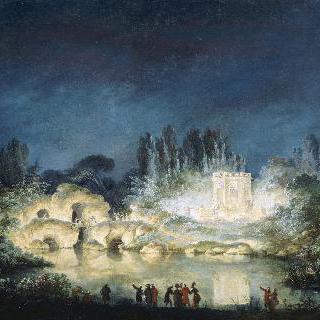 1781년, 프티 트리아농의 《벨베데르 음악당》에 밝혀진 조명
